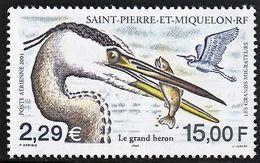2001 St. Pierre And Miquelon Migratory Birds: Great Blue Heron Stamp (** / MNH / UMM) - Storks & Long-legged Wading Birds