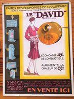 """Plaque Publicitaire Carton """" LE DAVID """"  Années 20 - Récupérateur De Chaleur - Economies De Chauffage -Poêles, Godin, - Plaques En Carton"""