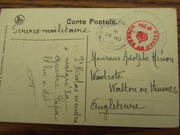 Carte Vue De FURNES Oblitéré Du HAVRE (spécial) Le 24-11-1914 Pour L'Angleterre. Censure Au Verso - WW I