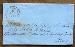 ANNULLI TOSCANA - MONTEVARCHI 6 FEB.1846  D.c. SU LETTERA  PER FIRENZE : Annullo D.c. Al Retro - ...-1850 Préphilatélie