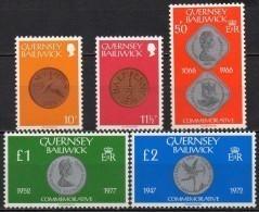 Guernesey - 1980 - Yvert N° 194 à 198 ** - Série Courante, Pièces De Monnaies - Guernsey
