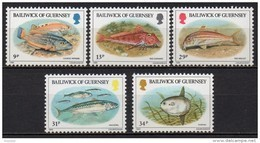 Guernesey - 1985 - Yvert N° 316 à 320 ** - Poissons - Guernsey
