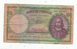 Billet , Banco De Portugal , 28 De Junho De 1949, Vinte ,  20 Escudos Ouro , 2 Scans - Portugal