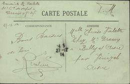 Guerre 14 Cachet De Fortune De Dreux Uniquement Avec Bloc Dateur Du 27 12 14 CP Dreux En FM Pour Venizel - 1. Weltkrieg 1914-1918