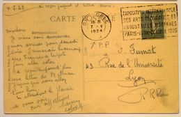 """Rare Flamme PP De Grenoble 1924 """"Exposition Des Arts Décoratifs"""" Cp Grenoble - Postmark Collection (Covers)"""