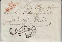 Département Conquis Marque Postale 86/MONS An 7 - Marcofilie (Brieven)