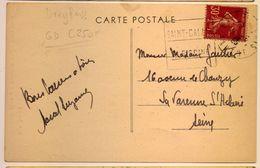 Rare Flamme Daguin Saint Calais 1935 Cp Saint Calais - Postmark Collection (Covers)