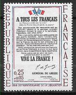 FRANCE 1408b Neuf ** Catalogue MAURY Rouge Très Déplacé . Cote 45 Euros . Appel Du Général De Gaulle . - Unused Stamps