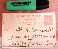 Entier Postal Du Paraguay écrit Vers La France En Russe - 1931 - Postal Stamped Stationery