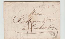 GERS: 31 - VIC-FEZENSAC Linéaire 48 X 11 M/m + Dateur A + TM 4 / LAC De 1830 - Marcophilie (Lettres)