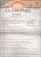 MENU   LA  COUPOLE - Menus