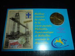 MEDAILLE SOUVENIR MARSEILLE 2010 PONT TRANSBORDEUR MIS SOUS ENCART NUMEROTES - N°123/500 (CN) - Monnaie De Paris
