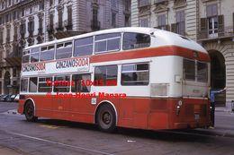 Reproduction D'une Photographie D'un Bus à étage Avec Publicité Cinzano Soda Aperitivo à Turin En Italie En 1973 - Reproducciones