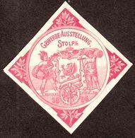 """Stolp Slupsk 1896 !!! Pommern """" Gewerbe-Ausstellung """" Art Deco Vignette Cinderella Reklamemarke - Erinnophilie"""