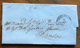 ANNULLI TOSCANA   POGGIBONSI 2 FEB 1856 D.c.   SU LETTERA COMPLETA DI TESTO PER PIOMBINO : D.c. Al Retro + Sigillo - Italy