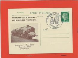 M43ENTIER POSTAL ILLUSTRE CHEFFER  THEME FERROVIAIRE PARIS 31/03/1973 LOCOMOTIVE N° 1 TYPE 241 P 1948 - Postal Stamped Stationery