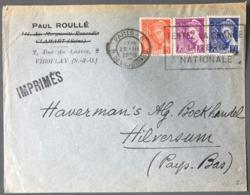France N°407, 408 Et 410 Sur Enveloppe 1939, Tarif Imprimé Pour L'étranger (PAYS-BAS) - (B2801) - Postmark Collection (Covers)