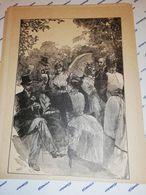 GRAVURE 19EME GOUTER CHAMPETRE ROBE OMBRELLE CIRCA 1870 19 X 25 CM - Estampas & Grabados