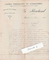 1898 Facture G. ROULAND / Laines Françaises Et étrangères / Pont Des Trois Sautets / 13 Aix En Provence - 1800 – 1899