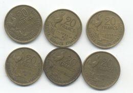 20 FRANCS  Guiraud 1951 +1951B + 1952 +1952 B +1953 +1953 B - France