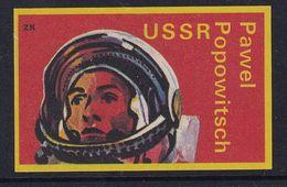 Space Weltraum Espace: Matchbox Labels ZK: Cosmonaut Pavel Popovich; CCCP Russia - Matchbox Labels