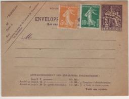 Enveloppe Pneumatique - 60c Champlain-+2semeuse (voir Dos (ttb ) - Postal Stamped Stationery