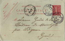Carte Semeuse Lignée 10 Cts Avec Date 406 - Paris 42 1904 Avenue Friedland - Postal Stamped Stationery