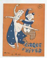 PROGRAMME CIRQUE D HIVER 1947 Clown Danse  Avec Les FRATELLINI Francois Albert - Programmes