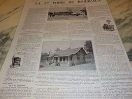 ANCIENNE PUBLICITE LA 9 FOIRE DE BORDEAUX  1925 - Altri