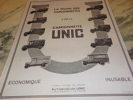 ANCIENNE PUBLICITE EDITION NELSON  LA REINE DES  CAMIONNETTE UNIC   1925 - Camion