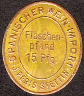 """Stettin Szczecin ~1923 """" J.Peris Pfandmarke 15 Pf Flaschenfand Notgeld """" Art Deco Vignette Cinderella Reklamemarke - Vignetten (Erinnophilie)"""