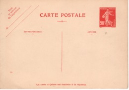 Entiers Postaux -  Carte Postale- 90c Semeuse Avec Réponse (ttb ) - Postal Stamped Stationery
