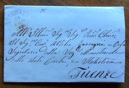ANNULLI TOSCANA  DICOMANO 31 AGO 1855  D.c. SU LETTERA COMPLETA DI TESTO PER FIRENZE : Dandella Al Retro - Italy