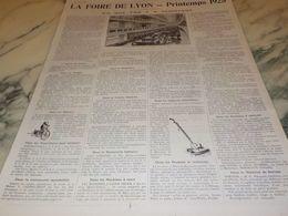 ANCIENNE PUBLICITE   SUR LA  FOIRE DE LYON  PRINTEMPS 1925 - Altri