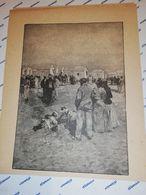 GRAVURE 19EME BAINS DE MER CABANE PLAGE CIRCA 1870 19 X 25 CM - Estampas & Grabados