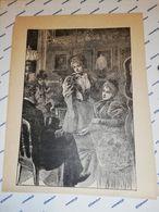 GRAVURE 19EME COUPLE DISCUTANT DANS UN SALON CIRCA 1870 19 X 25 CM - Estampas & Grabados