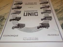 ANCIENNE PUBLICITE OLIBET  LA REINE DES  CAMIONNETTE UNIC   1925 - Camion