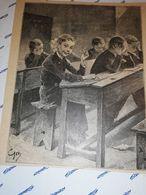GRAVURE CIRCA 1870  BARBANT ENFANTS EN UNIFORME A L ECOLE  14.5 X 17 CM - Estampas & Grabados