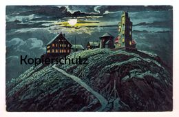 ALTE POSTKARTE RIESENGEBIRGE SCHNEEKOPPE BEI MONDSCHEIN SCHLESIERHAUS RIESENBAUDE Schlesien Cpa Ansichtskarte Postcard - Schlesien