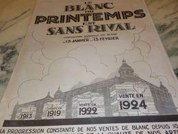 ANCIENNE PUBLICITE  LE BLANC AU MAGASIN  PRINTEMPS 1925 - Vintage Clothes & Linen