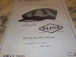 ANCIENNE PUBLICITE UNE PERFECTION CASQUETTE MONDIALE   ELINA 1925 - Posters