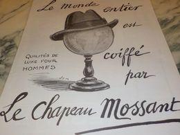 ANCIENNE PUBLICITE LE MONDE COIFFE PAR MOSSANT 1925 - Posters