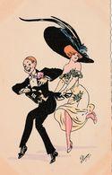 CPA Aquarellée Peinte à La Main Couple Danse Femme Lady Women Girl Mode Chapeau Hat Illustrateur PLUM (2 Scans) - Other Illustrators