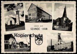 ALTE POSTKARTE GRUSS AUS SEHNE HANNOVER KALIWERK MITTELSCHULE MITTELSTRASSE EIS ZUG Train Ansichtskarte Postcard Cpa AK - Sehnde