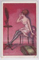 Xavier Sager Artiste Illustrateur Coquetterie Fantaisies Trichromes Femme Dénudée Devant Miroir Erotisme Lingerie Mode - Sager, Xavier