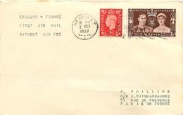 UK. 1er Courrier Sans Surtaxe Aérienne Newport > Paris  3/10/37 - 1902-1951 (Kings)