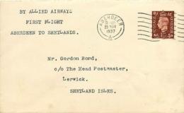 UK. 1er Allied Airways  Aberdeen > Lerwick  Shetland   23/11/37 - 1902-1951 (Kings)