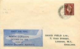 UK. 1er Vol North Eastern Airways   Perth > Londres   3/10/38 - 1902-1951 (Kings)