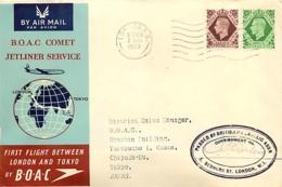 UK. 1er Vol Comet BOAC Londres > Tokyo   3/4/53 - 1952-.... (Elizabeth II)