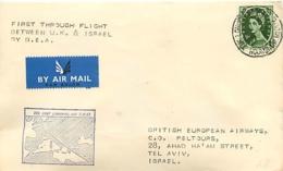 UK. 1er Vol Direct BEA  Londres > Tel Aviv   7/10/57 - 1952-.... (Elizabeth II)